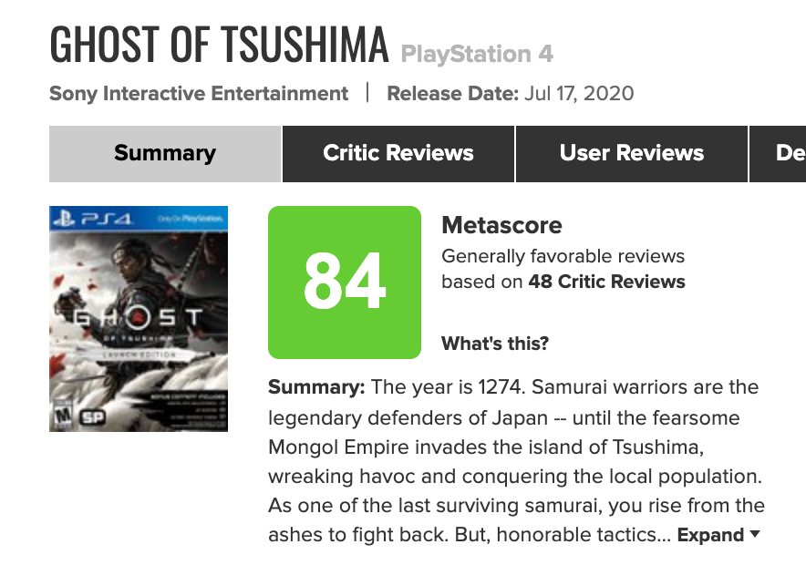 Metacritic отдала игре 84 балла