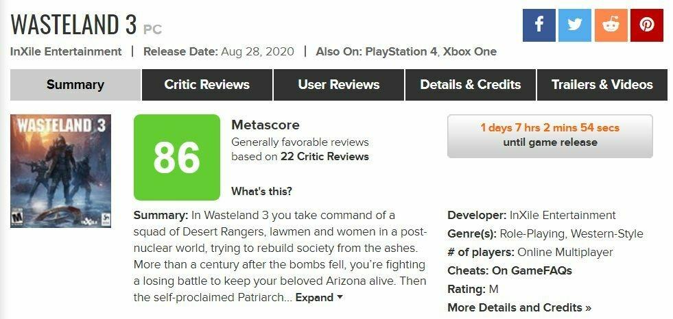 Wasteland 3 метакритик