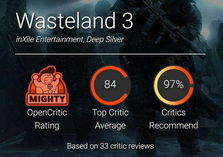 Wasteland 3 оценки на других порталах